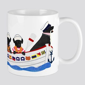Nautical Preppy Black Lab Dogs Mug